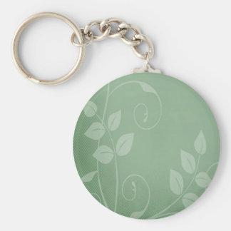 Sage Green Vintage Basic Round Button Keychain