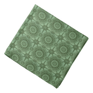 Sage Green Vintage Geometric Floral Pattern Bandana