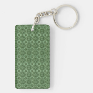Sage Green Vintage Geometric Floral Pattern Double-Sided Rectangular Acrylic Keychain