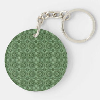 Sage Green Vintage Geometric Floral Pattern Double-Sided Round Acrylic Keychain
