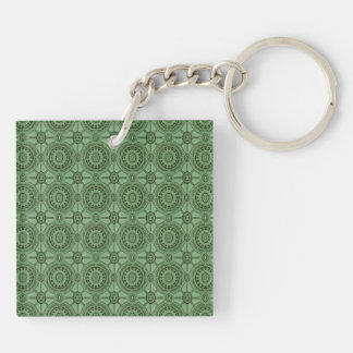 Sage Green Vintage Geometric Floral Pattern Double-Sided Square Acrylic Keychain