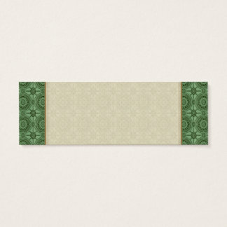 Sage Green Vintage Geometric Floral Pattern Mini Business Card