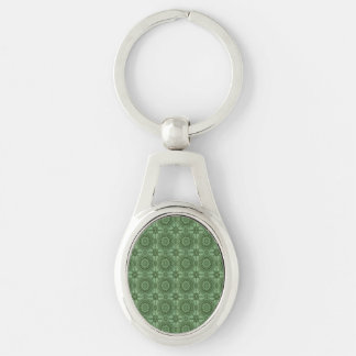 Sage Green Vintage Geometric Floral Pattern Silver-Colored Oval Keychain