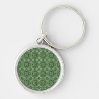 Sage Green Vintage Geometric Floral Pattern Silver-Colored Round Keychain