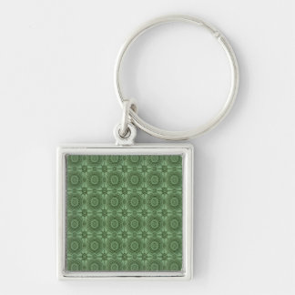 Sage Green Vintage Geometric Floral Pattern Silver-Colored Square Keychain