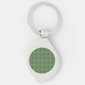 Sage Green Vintage Geometric Floral Pattern Silver-Colored Swirl Keychain