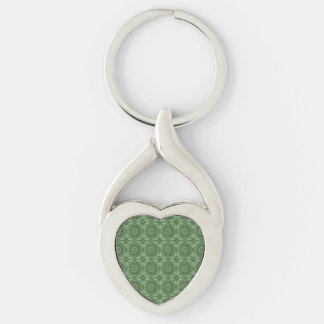 Sage Green Vintage Geometric Floral Pattern Silver-Colored Twisted Heart Keychain