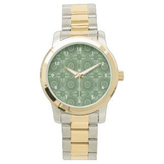 Sage Green Vintage Geometric Floral Pattern Wrist Watch
