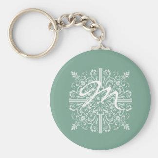 Sage Green Vintage Monogram Business Basic Round Button Keychain