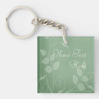 Sage Green Vintage Single-Sided Square Acrylic Keychain
