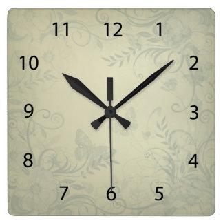 Sage Green Vintage Square Wall Clock