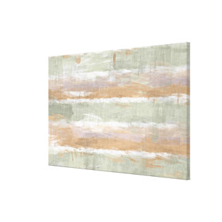 Sage Green Violet Orange White Watercolor Stripes Canvas Print