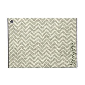 Sage Green & White Chevron Pattern Linen Look iPad Mini Case