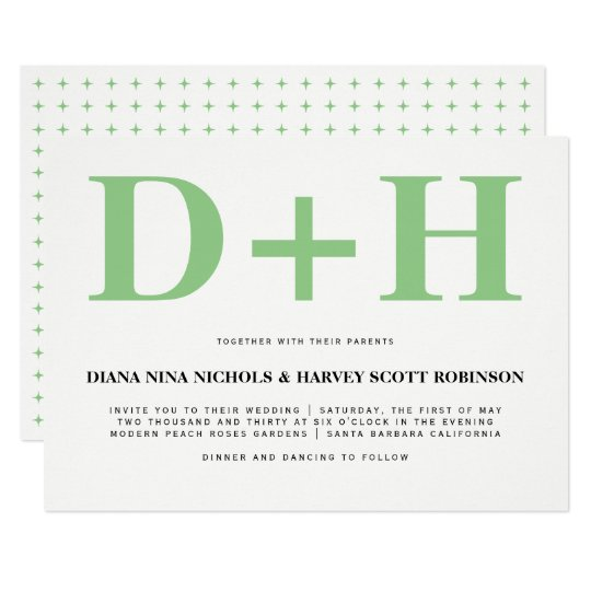 Sage green, white initials bold typography wedding card