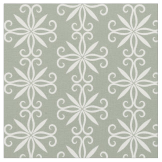 Sage green white pattern fabric