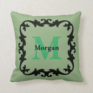 Sage Green with Monogram & Family Name - Throw Pillow