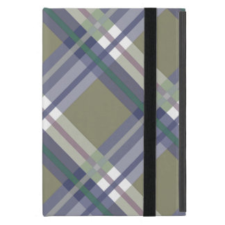 Sage & Grey Checks on Leather Texture Cover For iPad Mini