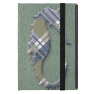 Sage & Grey Checks on Leather Texture iPad Mini Case