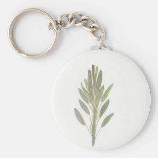 Sage herb botanical plant art print keychains