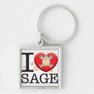 Sage Love Man Silver-Colored Square Keychain