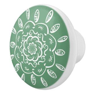 Sage Mandala Ceramic Knob