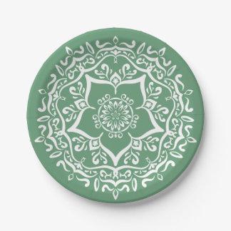 Sage Mandala Paper Plate