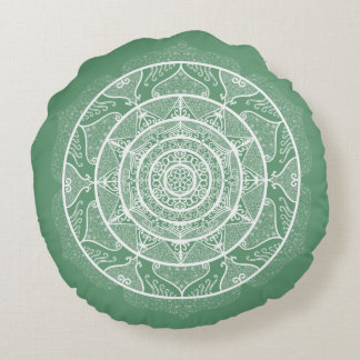 Sage Mandala Round Pillow