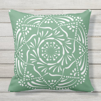 Sage Mandala Throw Pillow