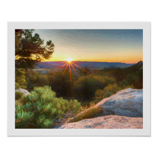 Sage Mountains Sunset Poster