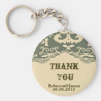 sage paisley vintage western country wedding favor basic round button keychain
