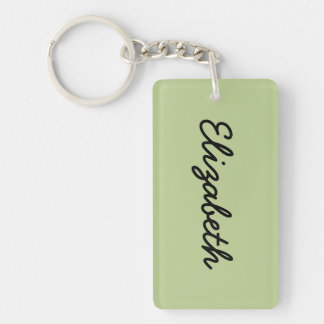 Sage Solid Color Double-Sided Rectangular Acrylic Keychain