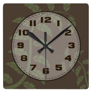 Sage Vines Square Wall Clock