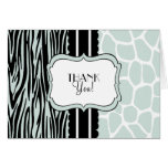 Sage Zebra and Giraffe-Thank You Note Card
