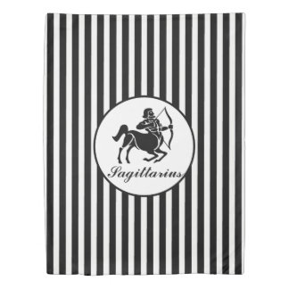 SAGITTARIUS Astrology Sign Black StripesPattern Duvet Cover