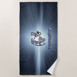 Sagittarius chrome symbol beach towel
