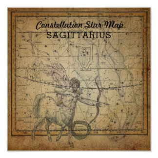 Sagittarius Constellation Star Map Cross Dec Poster