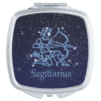 Sagittarius Constellation & Zodiac Sign with Stars Travel Mirror