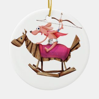 Sagittarius Dog Round Ceramic Ornament