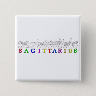 SAGITTARIUS FINGERSPELLED ASL NAME SIGN 2 INCH SQUARE BUTTON