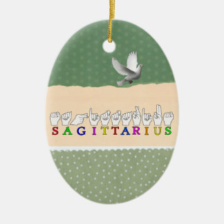 SAGITTARIUS FINGERSPELLED ASL NAME SIGN CERAMIC ORNAMENT