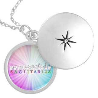 SAGITTARIUS FINGERSPELLED ASL NAME SIGN LOCKET NECKLACE