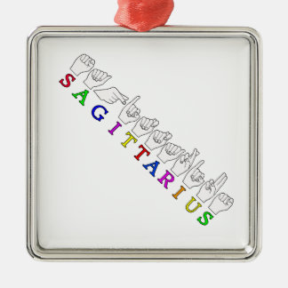 SAGITTARIUS FINGERSPELLED ASL NAME SIGN METAL ORNAMENT
