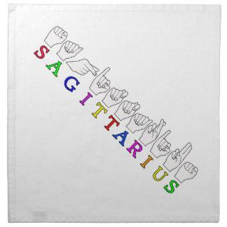 SAGITTARIUS FINGERSPELLED ASL NAME SIGN NAPKIN