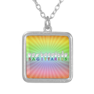 SAGITTARIUS FINGERSPELLED ASL NAME SIGN SILVER PLATED NECKLACE