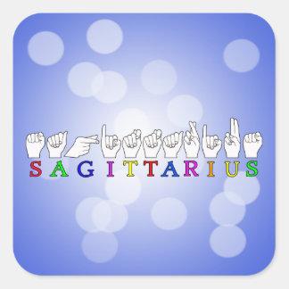 SAGITTARIUS FINGERSPELLED ASL NAME SIGN SQUARE STICKER