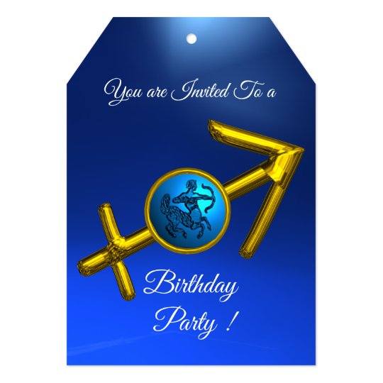 SAGITTARIUS Gold Aqua Blue Zodiac Birthday Party Card
