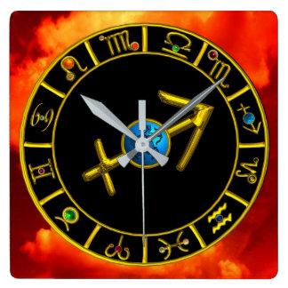 SAGITTARIUS Gold Blue Zodiac Jewel Astrology Chart Square Wall Clock