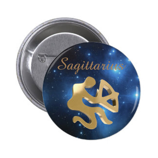 Sagittarius golden sign 2 inch round button