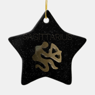 Sagittarius golden sign ceramic star ornament