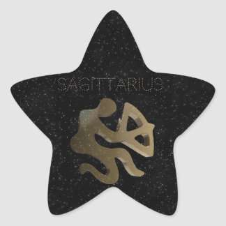 Sagittarius golden sign star sticker